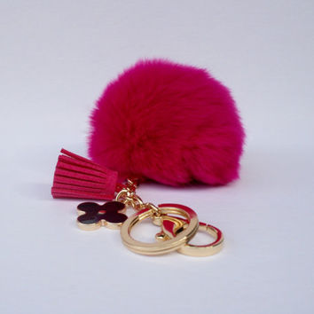 Pom-Perfect fuchsia REX Rabbit fur pom pom ball with black flower keychain and tassel