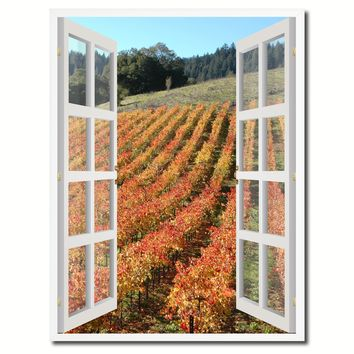 Wine Vineyards Sonoma California Picture French Window Canvas Print with Frame Gifts Home Decor Wall Art Collection