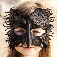 MADE To ORDER Filigree Leather Crow Black Bird Mask, Costume, Hand sculpted, OOAK