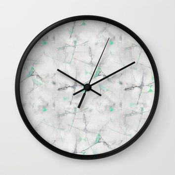 Green Cracked Design Wall Clock by CHIBIpoppedTheDinosaur