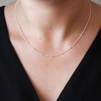 Perfect Layering Necklace / Dainty Beaded Satellite Chain / Short Sterling Silver or 14k Gold Fill Chain