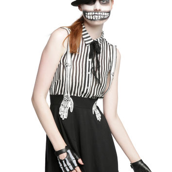Skeleton Hand Suspender Skirt