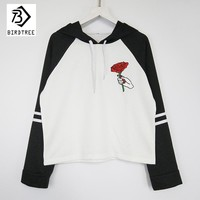 Women Cropped Embroidery Rose Flower Sweatshirts Hoodies Harajuku 2017 New Autumn  Pullovers   Women Clothing Hoody C78383A