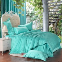 FADFAY Home Textile,Turquoise Bedding Sets Queen,Turquoise Duvet Cover Set,4Pcs