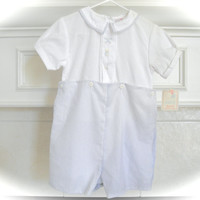 Vintage Baby Boy Suit All in One Clothing 24 Month Gently Used Baby Clothes White and Blue Golf Embroidery Weddings