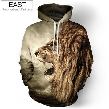 Royal-Infinity: Galaxy Hoodie Sweatshirt For Men 3D Lion Print Pullover