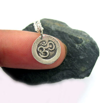 Tiny Ohm Necklace, Om Necklace, Om Jewelry, Ohm Jewelry, Yoga Necklace, Silver Om, Tiny Om, Charm, Yoga, Gift for her, Layering Necklace,