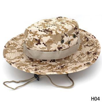 Outdoor Sun Hat Wide Brim Side Snap Chin Cord Fishing Hunting Hiking Camouflage Safari Summer Jungle Hats for Men & Women