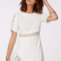 Missguided - Verity Crepe Scallop Shift Dress White