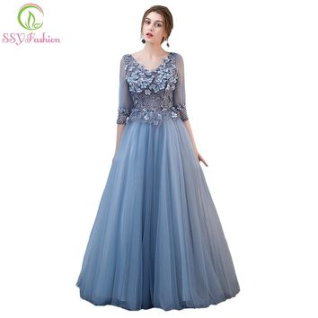The Banquet Elegant Grey Blue Lace Flower Evening Dress Half-sleeved Long Party Formal Gown