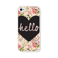 Heart Hello Peach Floral iPhone Case - iPhone 4 Case - iPhone 4 Cover - iPhone 4 Skin - Coral Pink Pastel Flowers iPhone 4 Case