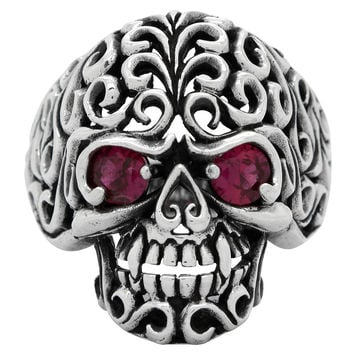 Sterling Silver Floral Filigree Skull Ring Garnet Red CZ Eyes
