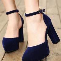 Deep Blue Suedette Strap Platform Heeled Shoes - Choies.com
