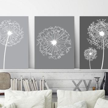 DANDELION Wall Art, Gray Ombre Bedroom Pictures, CANVAS or Prints, Gray Bathroom Decor, Dandelion Floral Decor, Set of 3 Home Decor Pictures