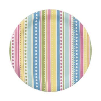 Abstract Stripes & Circles Pattern Paper Plates