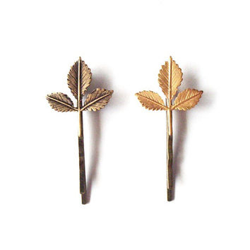 Leaf Hair Accessories - Leaf Bobby Pins Leaf Hair Pins Leaf Hair Clips Bridal Hair Pins Rustic Woodland Wedding Bridal Hair Accessories
