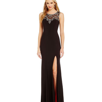 Betsy & Adam Beaded Illusion Gown | Dillards