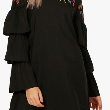 Boutique Izzy Embroidered Frill Sleeve Shift Dress | Boohoo
