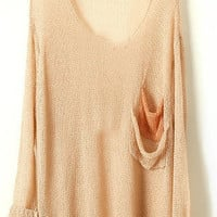 Khaki Batwing Sheer Pockets Cotton Blends Sweater - Sheinside.com