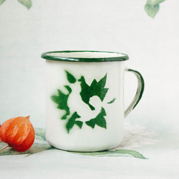 1940's Dog Cup / Rare Ukrainian Green Stencil Enamel Mug / Large Soviet Mid Century Chipped Up Camping / Picnic Tea Cup, Small Pot