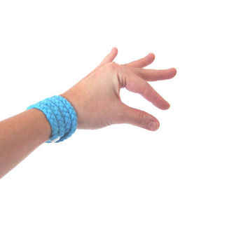Braided Bracelet Fabric TShirt Aqua Blue by SmiLeaGainCreations