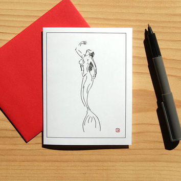 Mermaid Card - Art Card - Mermaid Sketch - Blank Card - FREE SHIPPING