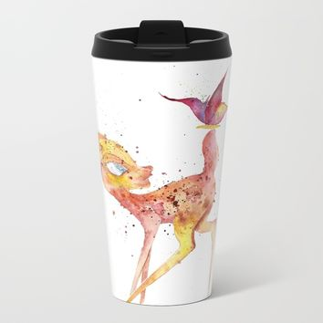 Bambi Meets Butterfly Metal Travel Mug by Salome