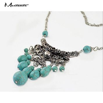 Natural Turquoise Stone Antique Silver Pendants Necklace Retro Boho Gypsy Tribal Jewelry