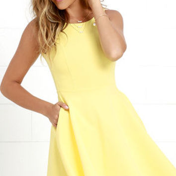Wanderlust Yellow Skater Dress