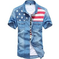 Men's Slim Fit American Flag Short Sleeve Denim Shirt