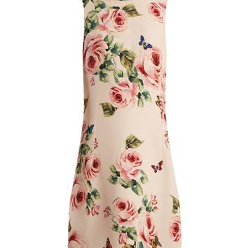 Rose and butterfly-print wool-blend dress   Dolce & Gabbana   MATCHESFASHION.COM US