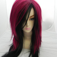 SHOP-WIDE SALE Sweet Cherry / Dark Auburn Red and Black / Long Straight Layered Wig