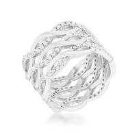 Brandy 0.88ct CZ Rhodium Twist Wide Cocktail Ring