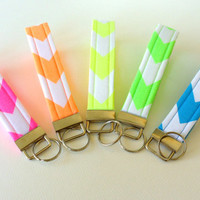 Chevron Key Chains, Wristlet Key Fobs, Neon Variety Gift Set of 5 Pink Orange Yellow Green Blue