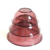 PYREX CORNING Visions 3 Piece Mixing Nesting Bowl Set Cranberry Purple 322 323 325