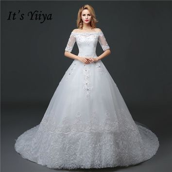 Free Shipping 2017 New Custom Made Lace Boat Neck Half Sleeves Train Wedding Dresses White Trailing Bride Frocks HS626