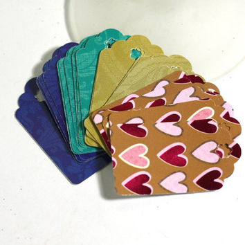 20 Gift Tags in Blue, Hearts, Turquoise and Gold Medium 2 Inch Gift Tags made from Glossy Cardstock - Handmade by me