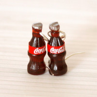 Coke bottle earrings kawaii miniature by Zoozim on Etsy