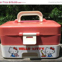 Very RARE Hello Kitty Vanity Box Jewelry Box Keepsake Box Made By Child Guidance Circa 1983 Signed With Patent  Sticker