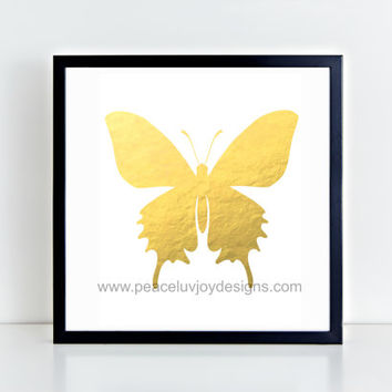 "Gold Foil Printable ,""Butterfly"", 8x10 Instant Download, Printable, Wall Art"