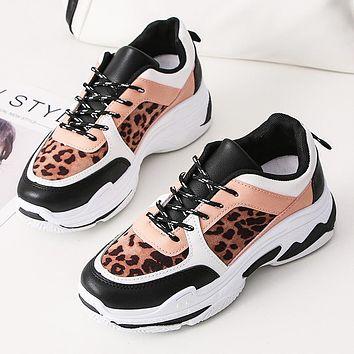 Stylish platform daddy shoes women's leopard print small white shoes casual sneakers women's shoes