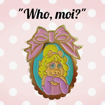 SECONDS SALE Kawaii Miss Piggy Who, moi? Cutie lapel enamel pin.