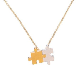 Gold Color Best Friend Puzzle Necklace For Women Friendship Gift Colar Feminino Stainless Steel Choker Chain Men Bff Jewelry