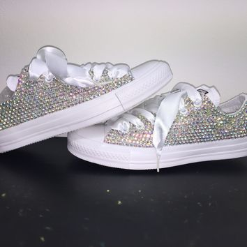 All Star Mono White Converse Bedazzled In AB Crystals White Laces