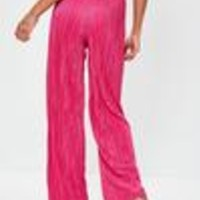 Missguided - Hot Pink Crinkle Pleated Wide Leg Trousers