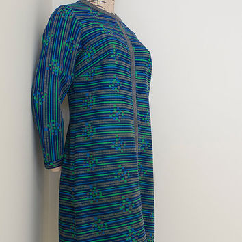 Genuine 1960s 70s Home Made Geometric Pattern Dress