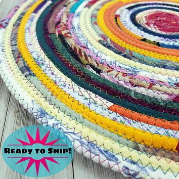 """R2S Handmade Table Mat Fabric Placemat 17.5"""" Diameter Multicolors Ready to Ship"""