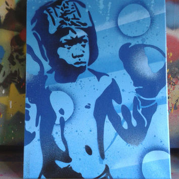 Boxer 2 painting in blues,stencil art,spray paints,boy,kids,boxing,street art,pop art,canvas,gloves,street art,abstract,graffiti,home,living