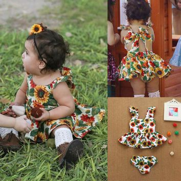 TELOTUNY 2018 baby dresses for girls summer  2Pcs Infant Newborn Baby Girls Floral Print Sunflower Dress Shorts Set Outfits m28