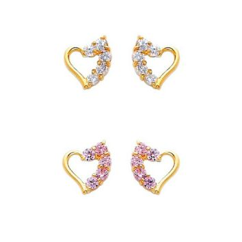 Heart Stud Earrings 14K Gold With Cubic Zirconia Stones